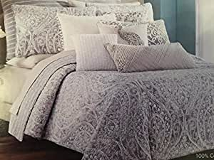 Amazon Com Tahari Home Queen Full Quilt Set Silver Grey