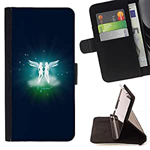 DEVIL CASE - FOR Samsung Galaxy S4 IV I9500 - Gemini Twins Zodiac Sign - Style PU Leather Case Wallet Flip Stand Flap Closure Cover