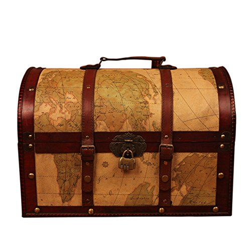 DinQ Giant Wooden Classical Treasure Storage Box with Antique Style Password Lock (Map, S) by DinQ