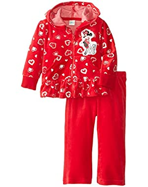 Baby Girls' Minnie Mouse 2 Piece Heart Velour Hoodie Set