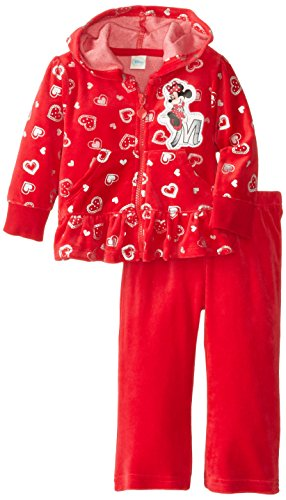 (Disney Baby Girls' Minnie Mouse 2 Piece Heart Velour Hoodie Set, Chinese Red, 18 Months)