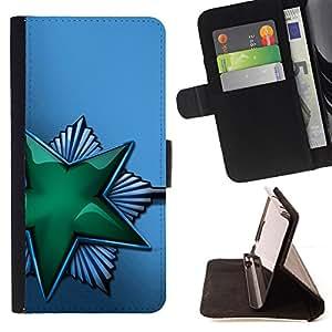 BullDog Case - FOR/Samsung Galaxy S4 IV I9500 / - / Green Shiny Star Soviet /- Monedero de cuero de la PU Llevar cubierta de la caja con el ID Credit Card Slots Flip funda de cuer