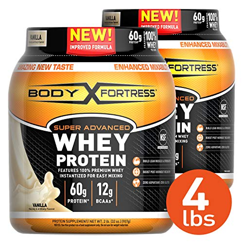 Body Fortress Super Advanced Whey Protein Powder, Gluten Free, Vanilla, 4 Pound (Body Fortress Whey Isolate For Weight Loss)