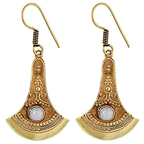 Earrings ax points decorated Moonstone antique brass golden nickel-free earrings Tribal Brass