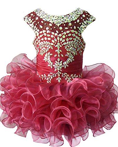 M_RAC Infant Girls Birthday Party Dress Custom Made Pageant Cupcake Dress 6M Burgundy