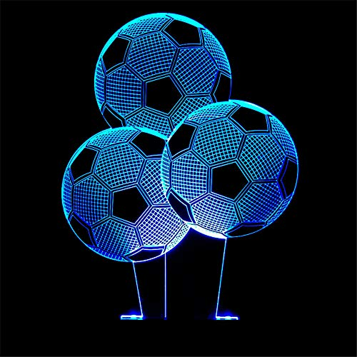 Led8N 3D LED Optical Illusion Lamps Night Light,7 Colour Changing LED Bedside Lamps for Kids with Acrylic Flat,ABS Plastic Base,USB Charger Football ()