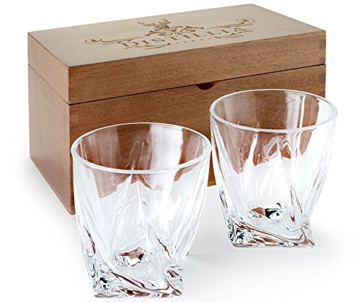 Elegant Whiskey Glasses (2) for Whiskey, Bourbon, Scotch | Whiskey Glass Set of 2 | Sophisticated, Crystal 2-Piece Whisky Set | Beautiful, Old Fashioned Rocks Glasses | Set of Hand Crafted Tumblers