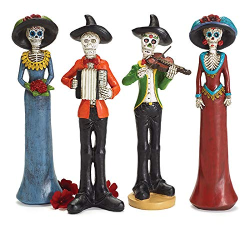 Halloween Decor Co. Instumental Day of The Dead Skeleton Band Figurines, Set of 4, 12 Inches ()