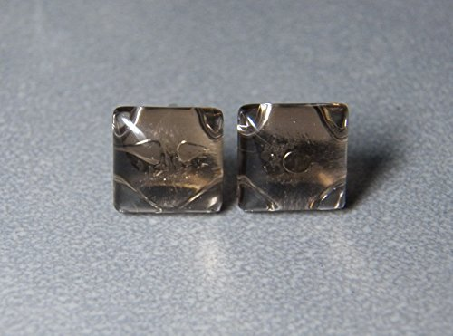 10mm Smoky Quartz and Sterling Silver Post Earrings (Cabochon Smoky Earrings)