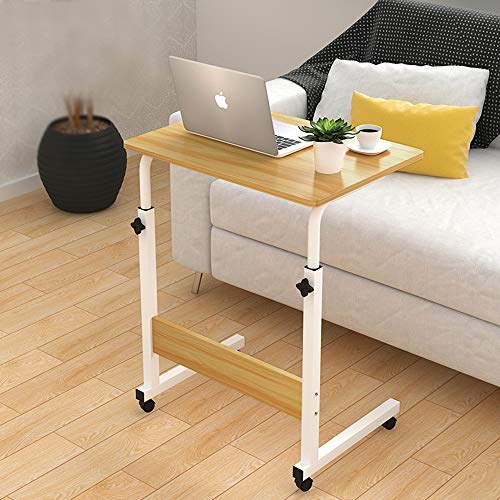 Removable Sofa Side Table Wheel Mobile Computer Desk with Storage Basket for Small Spaces Snack Table C Table for Living Bed Room