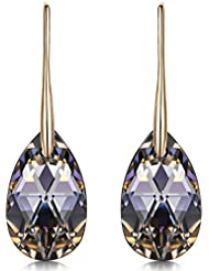 LADY COLOUR ♥Valentines Day Gifts♥ Silver Night Rose Gold Plated Black Teardrop Pierced Earrings, Crystals from Swarovski