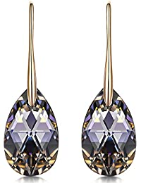 "Hypoallergenic Earrings ""Silver Night"" Black Teardrop Pierced Earrings Made with SWAROVSKI Crystals - Mysterious & Sexy![Gift Packing]"
