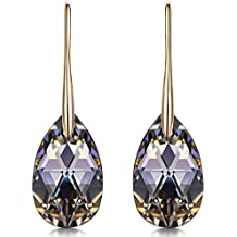 LADY COLOUR ♥Christmas Day Gifts♥ Silver Night Black Teardrop Pierced Earrings Made with Swarovski Crystals