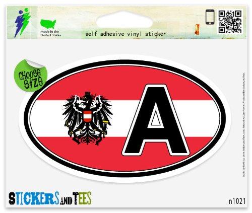Austria A Coat of Arms Flag Oval Vinyl Car Bumper Window Sticker 5