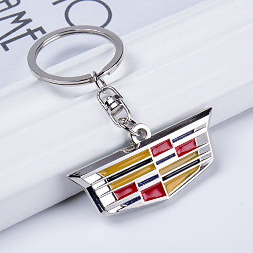 QZS Cadillac 3D Chrome Metal Key Chain Car Logo Key Ring, Best for Gifts (Cadillac)