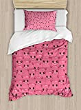 Ambesonne Pig Duvet Cover Set Twin Size, Smily Square Faced Little Pigs Eyes and Noses Crowd Herd of Animals Pattern Print, Decorative 2 Piece Bedding Set with 1 Pillow Sham, Pink and Black