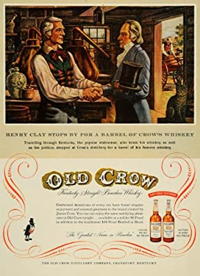 1954 Ad Old Crow Kentucky Bourbon Whiskey Henry Clay - Original Print Ad
