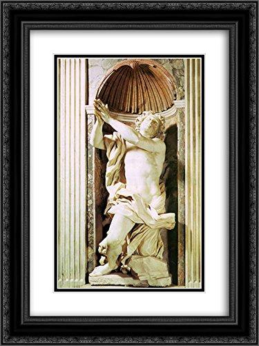 Gian Lorenzo Bernini 2X Matted 18x24 Black Ornate Framed Art Print 'Daniel and The Lion' -