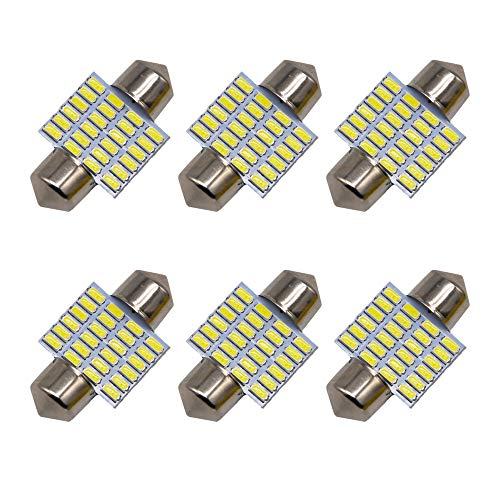 Anourney 6Pcs DE3175 DE3021 DE3022 C5W 31mm/1.25 Festoon LED Bulb, 24 SMDs 3014 Chipset LED Replacement Bulbs for Internior Car Licese Plate Dome Map Lights DC 12V with 12 Month Warranty