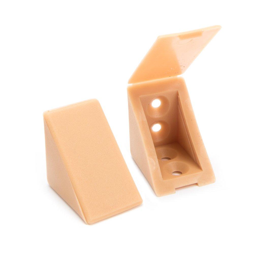 40 x Korpusverbinder/Möbelverbinder/Eckverbinder mit Abdeckklappe | Sossai® BT1, 2-Loch | Farbe : Buche | Material : Kunststoff