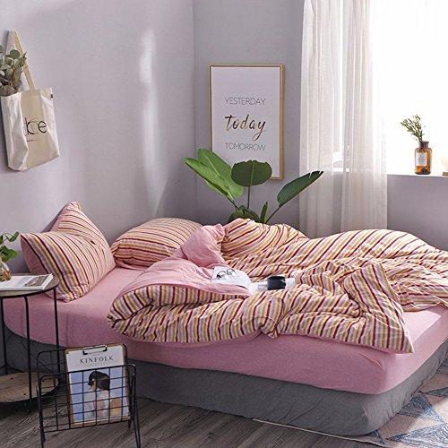 Ultra Soft Jersey Cotton Comforter Duvet Cover Set,Rainbow Striped Pattern Comforter Covers,3 pcs Bedding Set(1 duvet cover+2 pillowcase)\King (Rainbow Jersey Cotton)