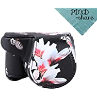 PDXD-share Protective Leather Camera Case Bag for Sony a5100 a5000 NEX3N with 16-50mm Lens (Black)