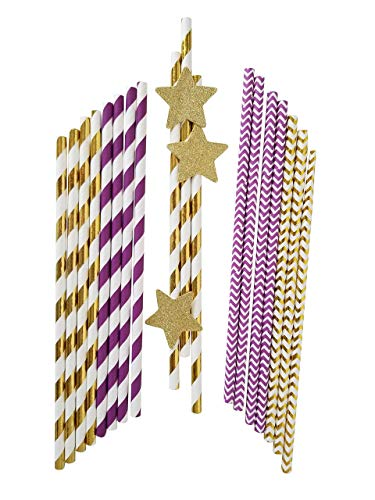 - Paper Straws Biodegradable Party Drinking Straws Gold and Purple with 10 Gold Stars 100 Pcs by Melmasca