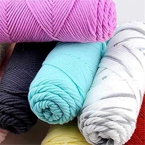 Artes, manualidades y costura – 100 G 23 colores largo stalped algodón suave lana para tejer hilo
