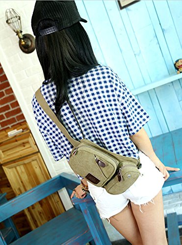 Man Lady Canvas Waist Bag Musette Bag Phone Pouch Date Outdoor By easybuyitnow (army green)