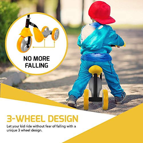 51NulJEoDeL - K2 Toddler 3 Wheel Kick Scooter & Ride-On Balance Trike 2-in-1 Adjustable for 2, 3, 4, 5 Year Old Kids Boy or Girl Transforms In Seconds (Yellow)