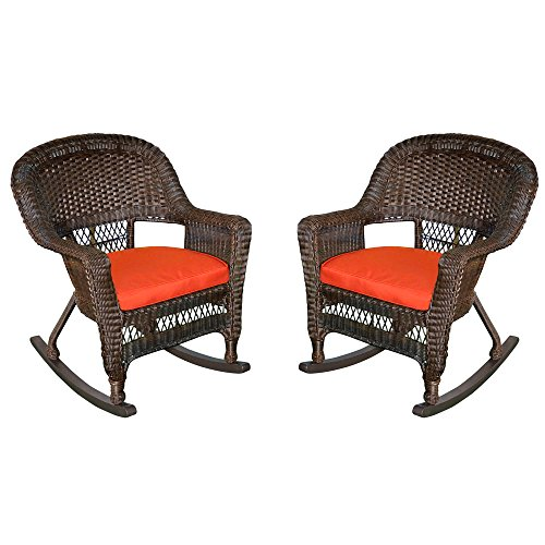 Jeco W00201R-A_2-FS018 Rocker Wicker Chair with Red Cushion, Set of 2, Espresso