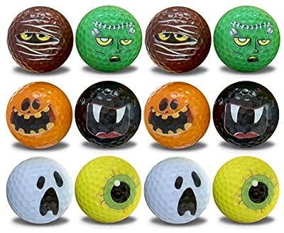 Halloween Golf Balls - 12 Pack - Novelty Print Golf Balls 6 Assorted Frightening Designs