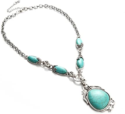 Stunning Pendant Necklace Vintage Turquoise Pendant set in Unique Silver Setting on Silver Chain