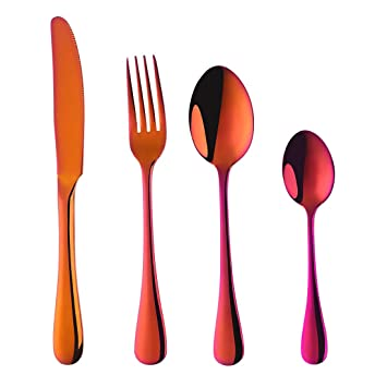 Juego de 4 cubiertos de acero inoxidable para cubiertos, vajilla de acero inoxidable con diseño de estrella de comprador, cuchillo y tenedor Rainbow Red: ...