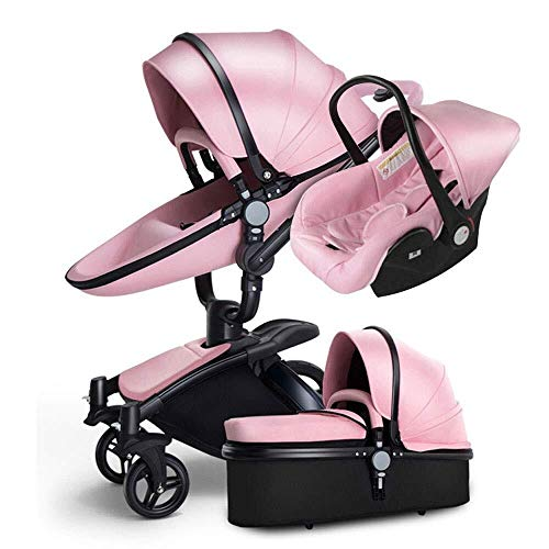 TZZ Luxury Baby Stroller High Landscape Foldable Pram Carriage with 5-Point Harness for Toddler Girls and Boys (Color : Pink)