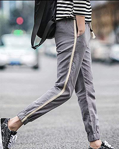 Straight Grau up Linen Pants Harem Men Ladies For Bobolily Lace xwOv7qUPP