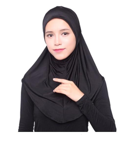 Amazon.com: Muslim Hijab Islamic Jersey Turban Women Black ...