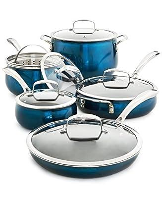 Belgique (High End Quality Home Cookware) 11 Piece Aluminum Pot And Pan Set - Blue