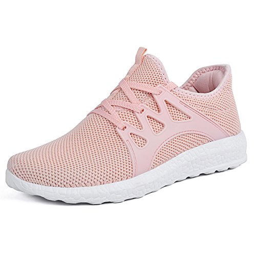 Pink Shoes Lightweight Sneakers Ultra Sport Womens Mesh Mxson Gym Breathable Walking wvxC6z5tq