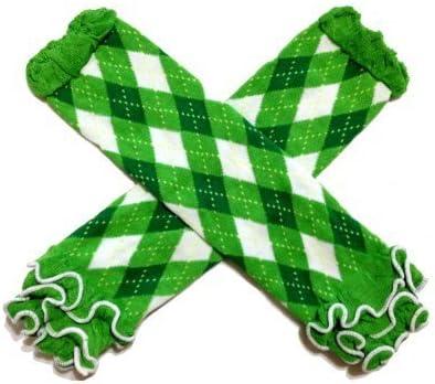 White /& Kelly Green Argyle Ruffle Baby Leg Warmer St Patricks Day KWC