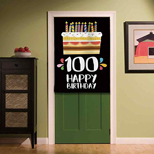 YOLIYANA 100th Birthday Decorations Non Fading Door Curtain,Old Legacy 100 Birthday Party Cake Candles on Black Backdrop for Coffee Shop Snack Bar,33.46''W x ()
