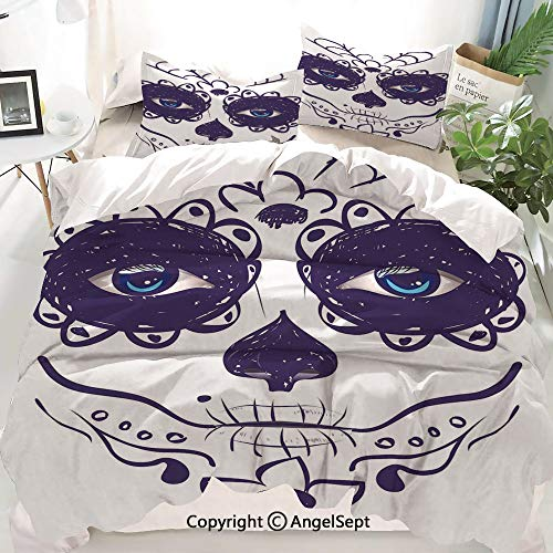 Homenon Day of The Dead Decor Decor Duvet Cover Set Full Size,Dia de Los Muertos Sugar Skull Girl Face with Mask Make up,Decorative 3 Piece Bedding Set with 1 Pillow Shams -