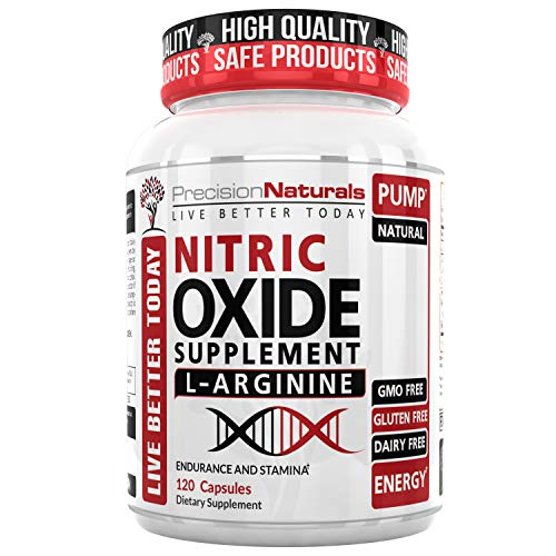 Nitric Oxide Supplement with L-Arginine – Improved Muscle Growth, Vascularity, Energy, Endurance and Recovery, Powerful NO2 Booster Increase Blood Flow 120 ()