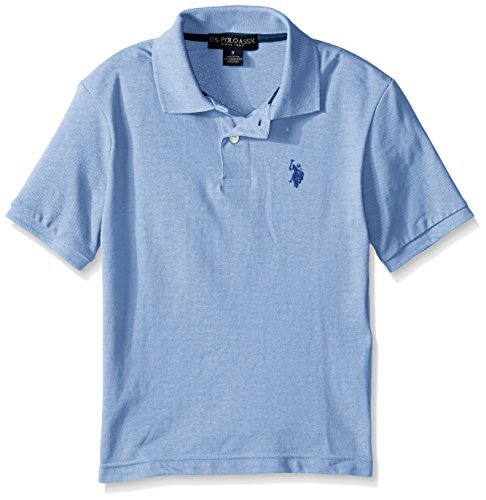 U.S. Polo Assn. Little Boys' Classic Short Sleeve Solid Pique Polo Shirt, Placid Blue Heather, (Classic Solid Pique Polo)