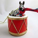 Little Drummer Zebra Christmas Ornament - Hand Painted - Delightful