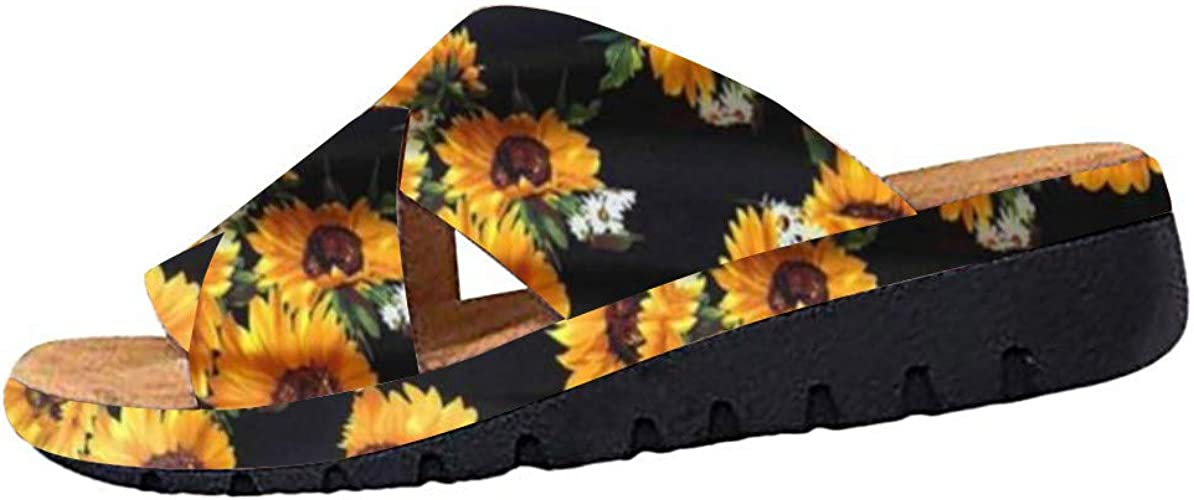 | Slide Sandals for Womens New Sunflower Criss