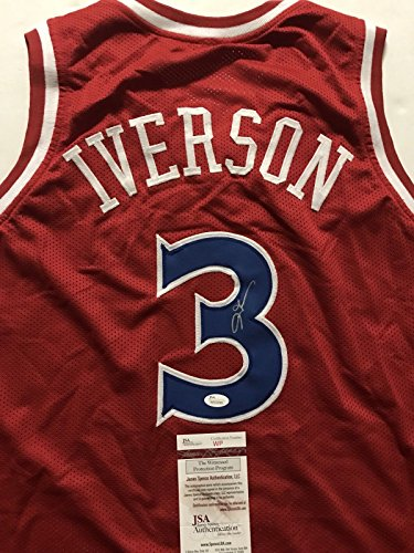 Autographed/Signed Allen Iverson Philadelphia 76ers Sixers Red Basketball Jersey JSA COA