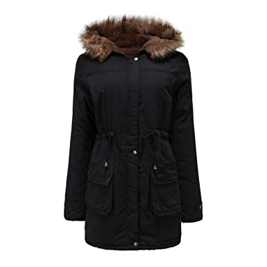 Amazon.com: Women Oversize Parka Warm Long Jacket Fur Collar ...