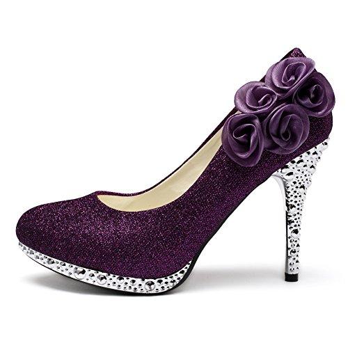 Crystal Flower Purple Rose Women's getmorebeauty Shoes Glitter Wedding qzxtBga4w