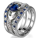 FENDINA Womens 925 Sterling Silver Plated Wedding Engagement Ring Set Claddagh Love Heart Created Sapphire Solitaire Best Promise Rings for Her